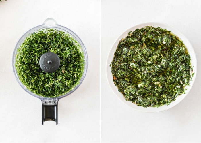 two image collage showing finely chopped carrot top greens and cilantro in a food processor and the finished chimichurri in a white bowl.