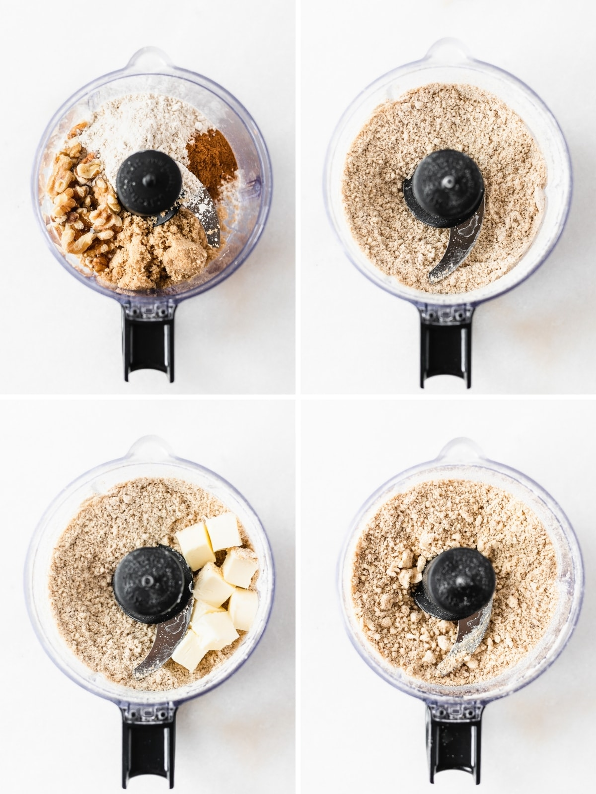 four image collage showing steps for making crumb topping for blackberry crumble baked oatmeal.