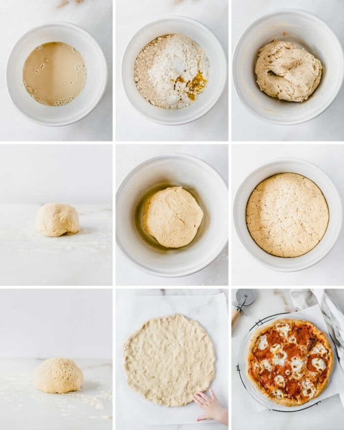 9 image collage showing steps for making whole wheat pizza dough.