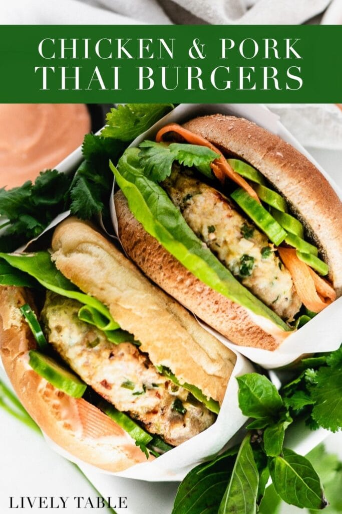 two healthy thai burgers sandwiched together with text overlay.