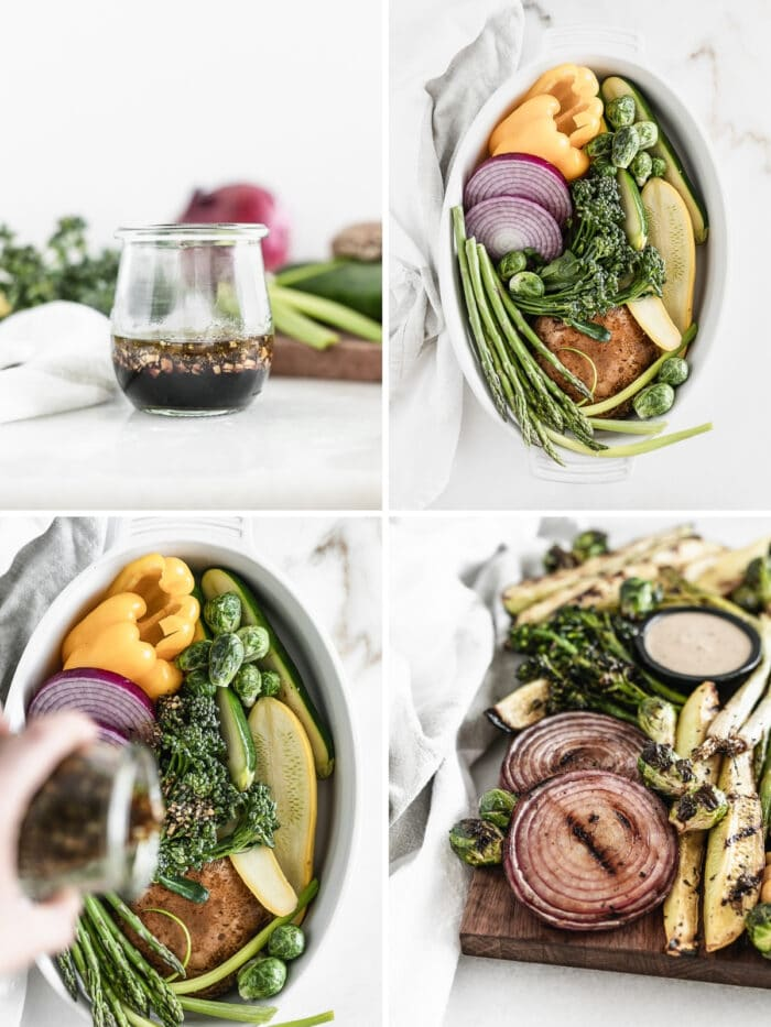four image collage showing steps to making vegetable marinade and grilling vegetables.