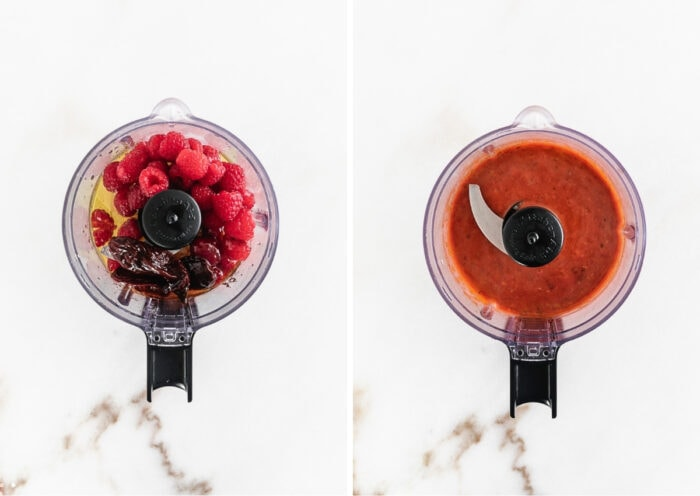 two image collage showing ingredients for raspberry chipotle dressing in a food processor and the blended dressing in the food processor.