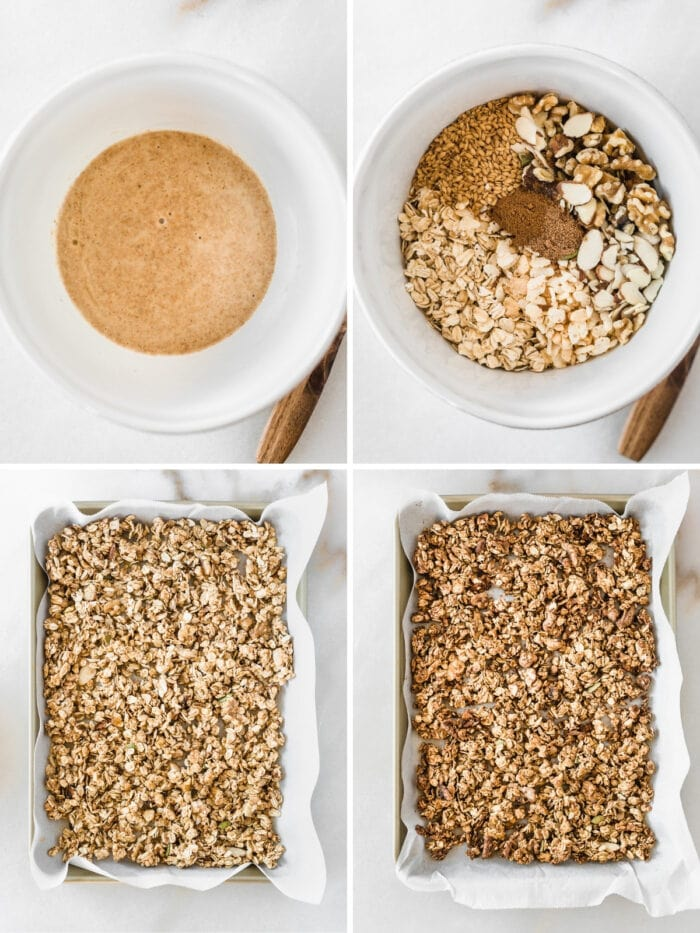 four image collage showing steps for making sourdough discard granola.