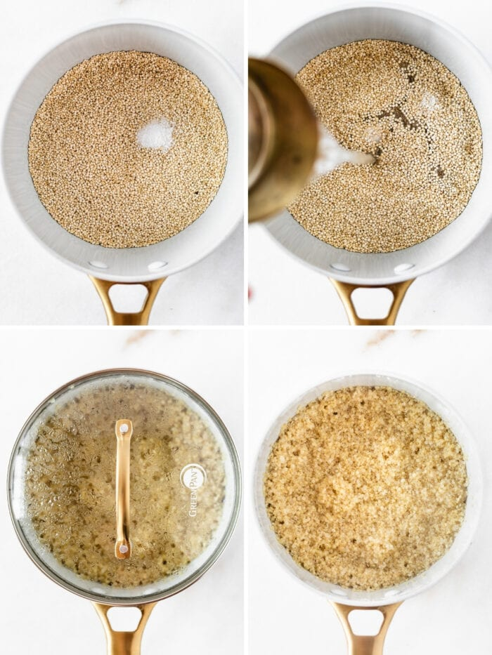 four image collage showing steps for making quinoa in a saucepan.