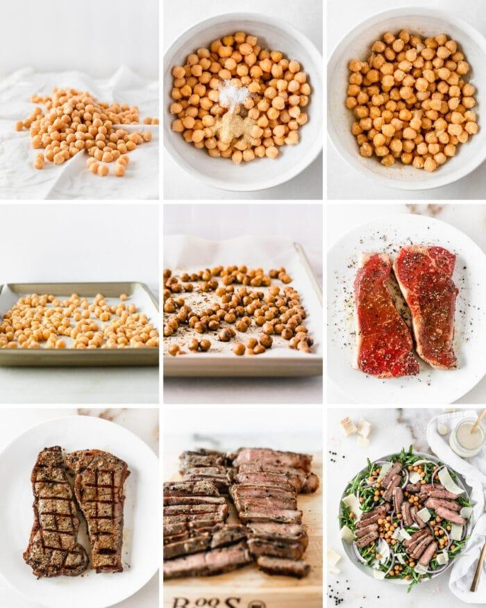 9 image collage showing steps for making roasted chickpeas and grilled steak arugula salad.