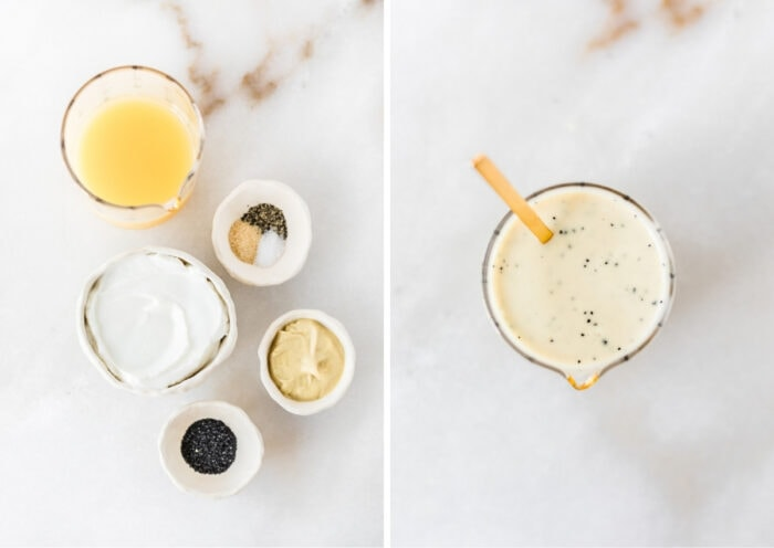 overhead side by side images of ingredients needed to make orange poppy seed dressing and the mixed dressing in a glass jar.