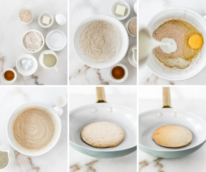 six image collage showing steps for making sourdough discard pancakes.