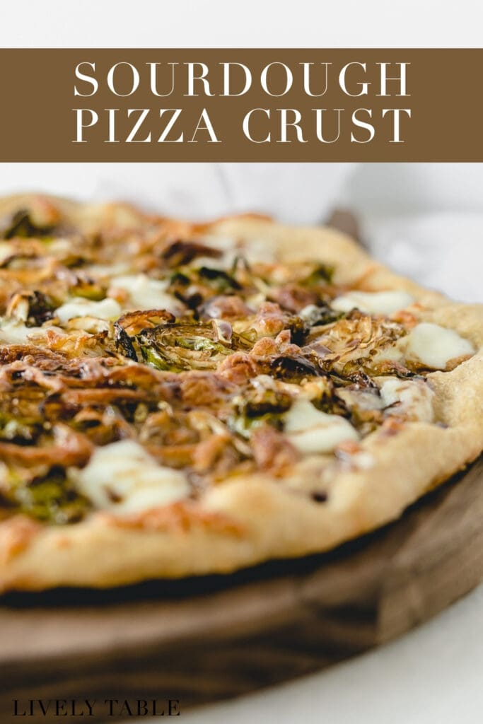 closeup of the sourdough crust on a brussels sprouts pizza on a wooden board with text overlay.