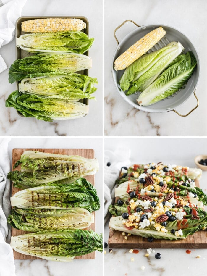 four image collage showing steps for making a grilled romaine and corn salad.