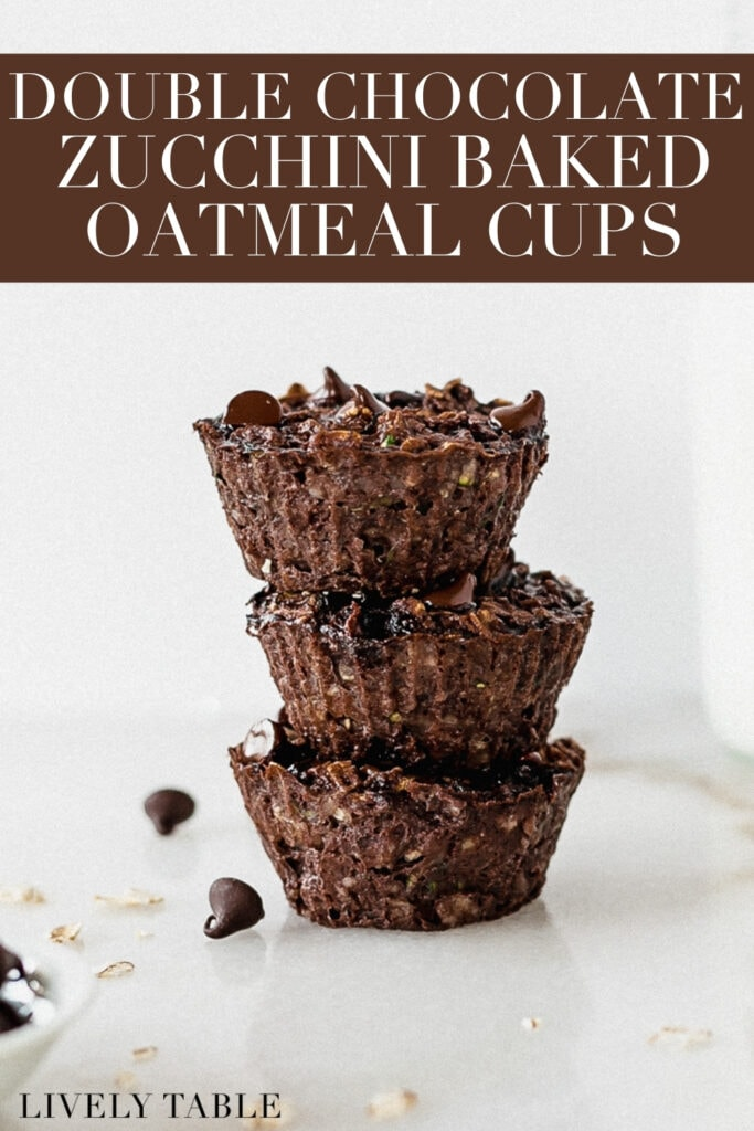 three double chocolate zucchini baked oatmeal cups stacked with text overlay.