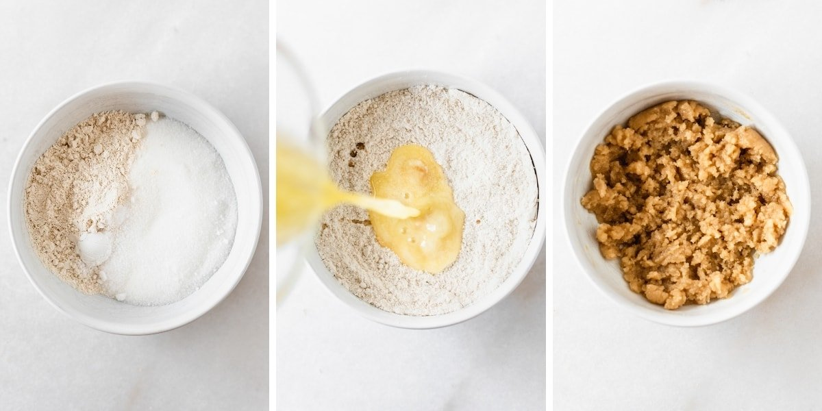 three image collage showing steps for making peach cobbler crust.
