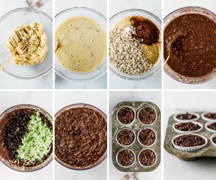 8 image collage showing steps for making double chocolate zucchini baked oatmeal cups.