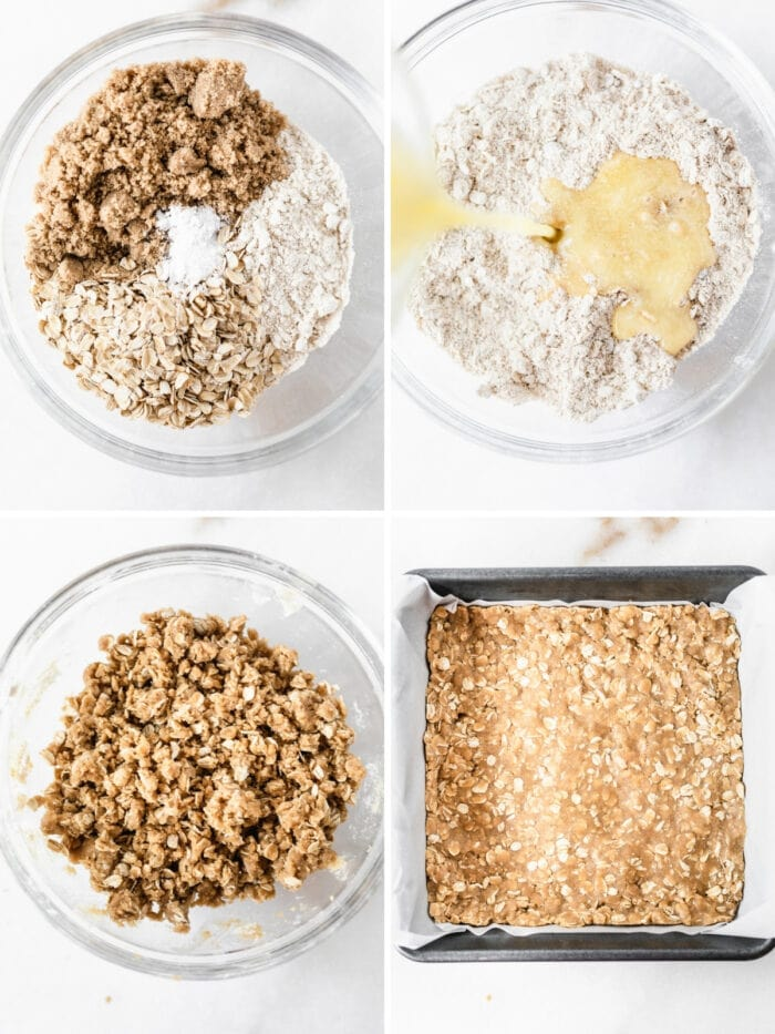 four image collage showing steps for making the cookie base for dream bars.