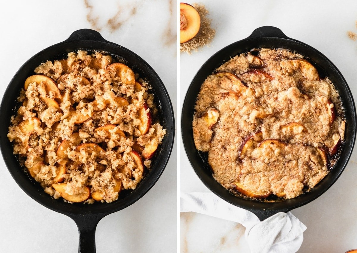 side by side overhead images of uncooked peach cobbler in a cast iron skillet and the cook cobbler in a skillet.