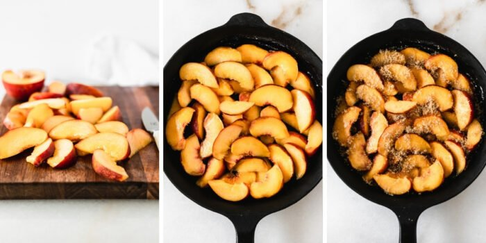 three image collage showing steps for prepping the filling for smoked peach cobbler.