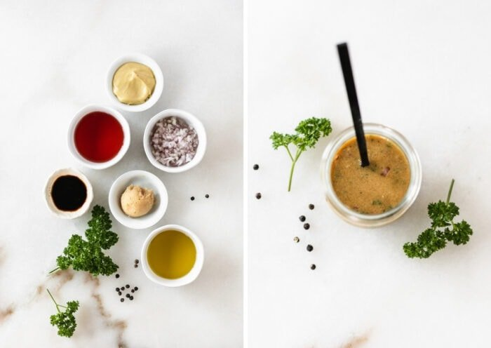 side by side images of ingredients needed for miso dijon dressing and the finished dressing in a jar.