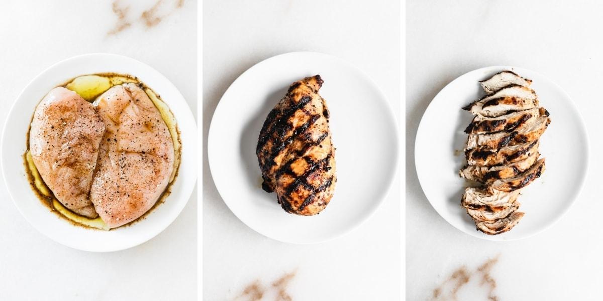 three image collage of seasoned raw chicken, a grilled chicken breast, and a sliced chicken breast.