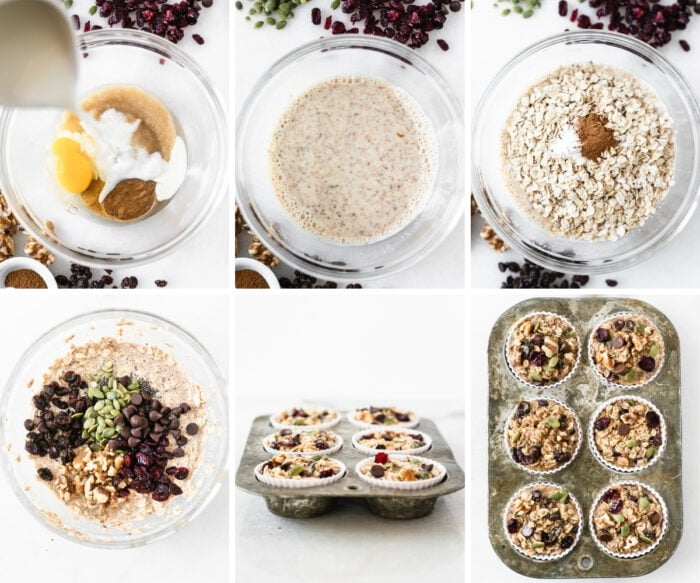 6 image collage showing steps for making trail mix baked oatmeal muffins.
