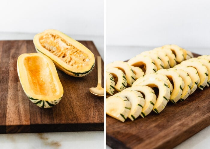 two image collage of a halved delcata squash on a cutting board, and the squash sliced into half moons on a cutting board.